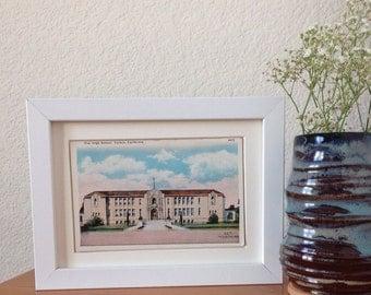 The High School, Vallejo, California - framed vintage postcard