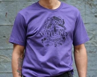 Men's Irish Whiskey T-Shirt, Purple Tee Shirt , Ireland, Man , Drinking Tee Shirt, St. Patrick's Day, Birthday , Sale
