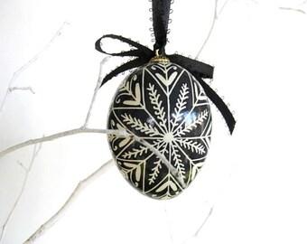 Black and White batik decorated egg ornament chicken egg pysanka Ukrainian Easter egg or Christmas Ornament black Easter eggs