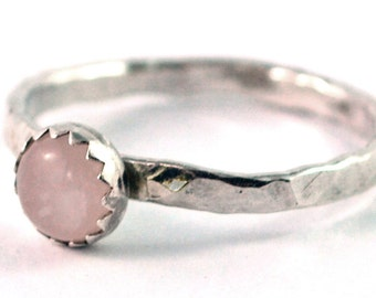 Rose Quartz Cabochon Sterling Silver Stacking Ring