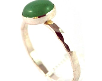 Green Aventurine Cabochon Sterling Silver Stacking Ring