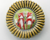 Wall Sculpture: Fox Couple, Wall Flower red, white, chartreuse fox Ceramic Tile with amber frame