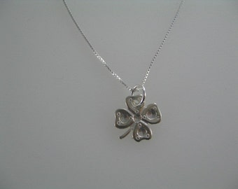 Four Leaf Clover Necklace, Silver Charm Necklace, Sterling Silver Four Leaf Clover Charm, Four Leaf Clover Pendant Good Luck Charm Necklace