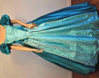 Satin and brocade ballgown reenactment costume - custom made to order
