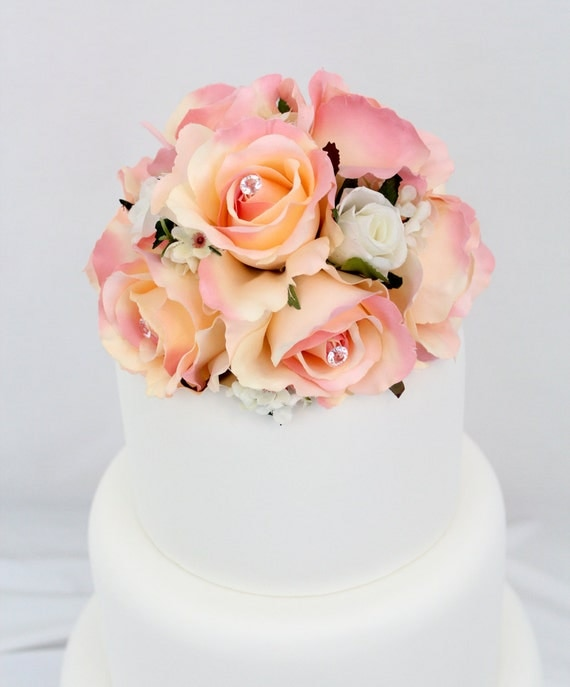 artificial flower wedding cake toppers wedding cake topper pink silk flower wedding cake 10843