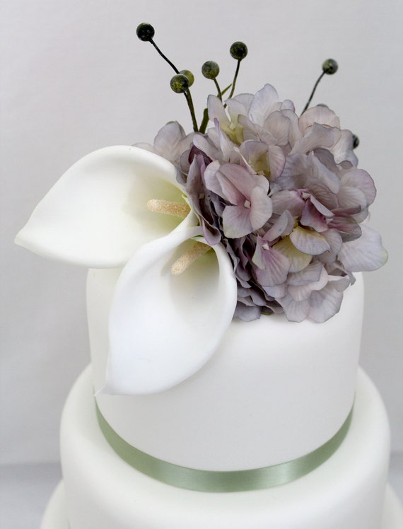 fake flower wedding cake toppers wedding cake topper calla purple hydrangea silk flower 14117
