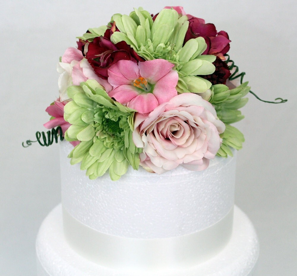 Flower Cake Toppers For Weddings: Wedding Cake Topper Pink Rose Green Gerbera Silk By