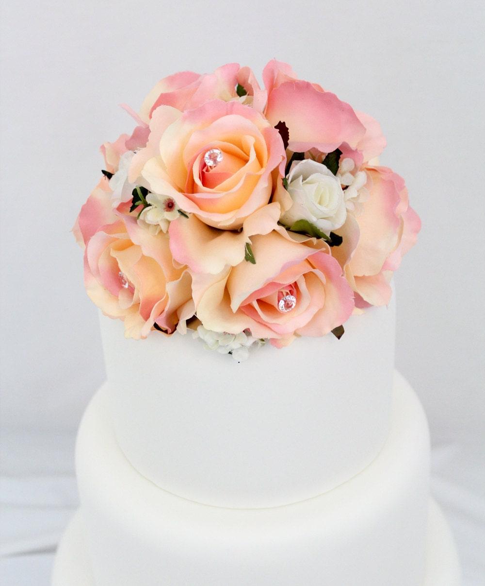 Silk Flower Wedding Cake Toppers: Wedding Cake Topper Pink Rose Silk Flower Wedding Cake