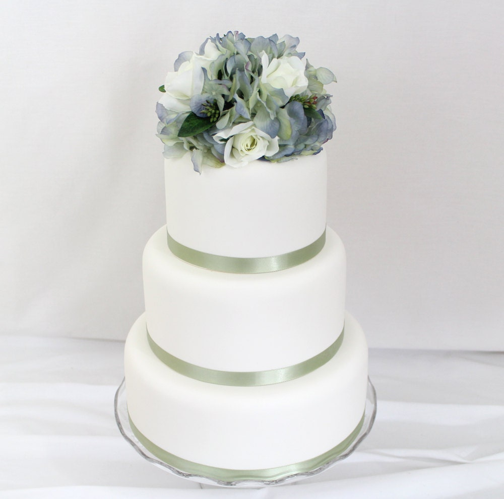 fake flower wedding cake toppers wedding cake topper blue hydrangea white silk flower 14117