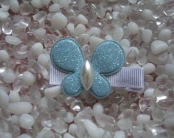 Blue Glitter Puffy Butterfly Hair Clip - No Slip Grip - Baby - Toddler - Girl - Teen - Adult Hair Clip