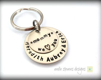 Personalized Nickel Silver Keychain Mother Grandma Mommy Hand Stamped Children's Names