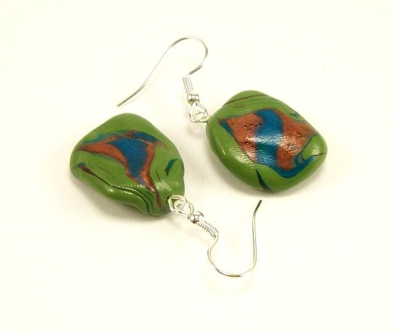 Polymer Clay Jewelry Earrings, Green Handmade Nugget Earrings, Dangle Earrings, Beaded Jewelry, Handmade Jewelry