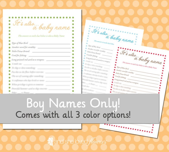 it 39 s also a baby name game for boys diy printable baby shower game