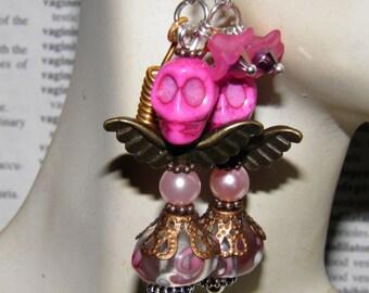 Day of the Dead Earrings Sterling Silver Angel Skull Jewelry Halloween Earrings Dia de los Muertos Day of the Dead Jewelry Halloween Jewelry