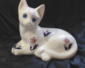 Vintage Alcobaca Pottery Reclining Blue Eyed Cat Figurine