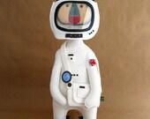 Last one Personalised Retro Spaceman Bear Handmade Felt Astronaut art doll decoration home folk