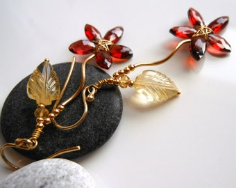 Citrine Mozambique Garnet Flower Earrings Wire Wrapped Gold Filled Gold Vermeil January Birthstone