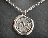 Mens Personalized Jewelry, Initial Necklace, Monogram Pendant, Personalized Necklace, Men's Necklace, Alphabet Stamped Necklace, Wax Seal