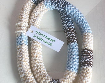 SALE: Cotton necklace - handknitted - in blue denim, sand and brown- washable - soft jewellery