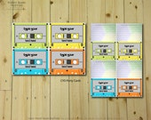OFF the WALL Party Cards - DIY Printable Cassette Tape Inspired Food Tents, Party Signs and Placecards