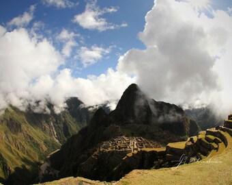 machu picchu photography, travel art print, postcard view, inca ruins, peru art