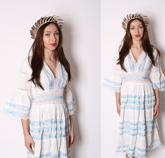 Reserved - White Crochet Mexican Ethnic Wedding Dress with Blue Satin Ribbon / Wedding Dress / Vintage Wedding Dress / White Dress / 1145
