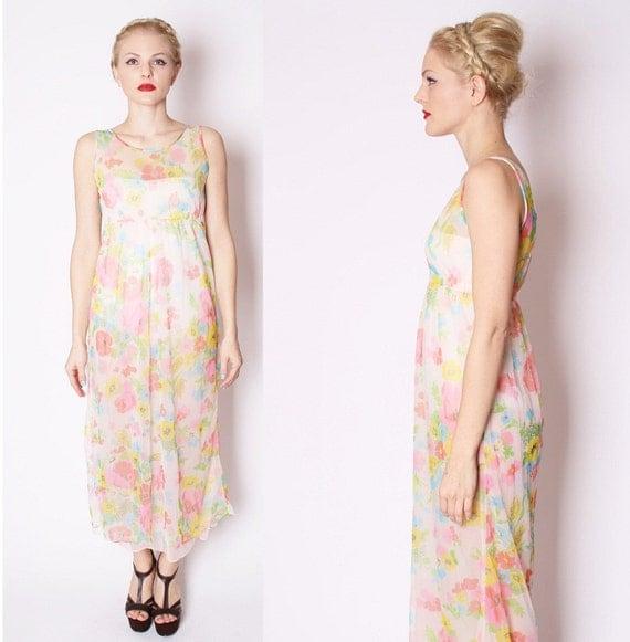 Delicate Vintage Sheer Floral Neon Mod Long Maxi Slip Dress / Dress / Dresses / Lingerie / 1960s Style / Bardot / 1685