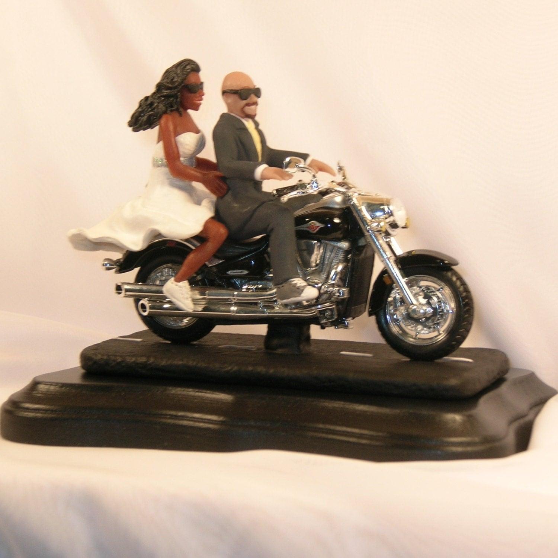 Pin Motorcycle Wedding Cake Topper African American Bride
