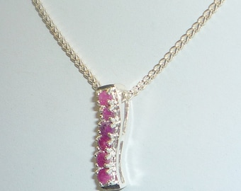Hand Cut Natural Ruby Pendant Sterling Silver .925