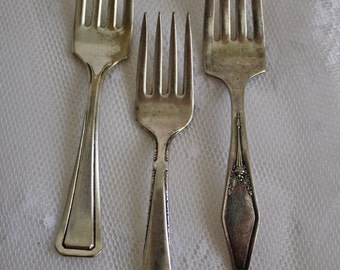 Silver Plate Short Handled Baby Fork Lot Instant Collection of 3
