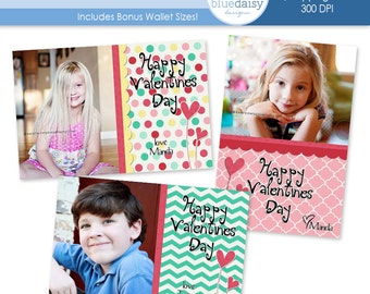 Valentines Custom Photo Card  4x6 and BONUS WALLET Size - Photographer Templates