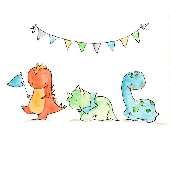 Italian Boy Name: Items Similar To Dinosaur Parade -- Nursery Art Dragon