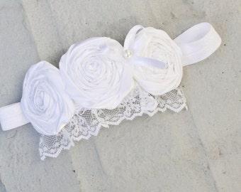 baptism headband, white baby headband, pink newborn headband