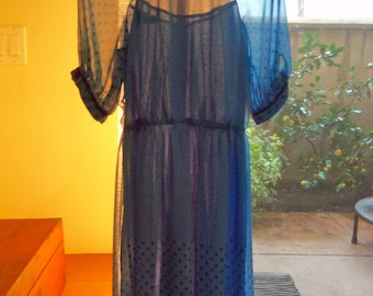 70s RANDY--Chiffon Dots Dress--Electric Blue--Sheer--Puff Sleeves--Made in Canada--Size 4