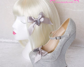 Grey Hair Clip & Shoe Clips Set, Lucite Leaf, Silver, Bow, Bridal, Bridesmaid, Wedding, Goth, Lolita, Rockabilly, hair piece, shoeclips