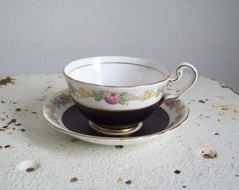 Vintage teacup Victoria C & E bone china England hand painted pattern Helene matte black and roses
