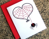 black widow and red spider web heart goth valentines / notecards (blank or custom inside) with red envelopes - set of 10