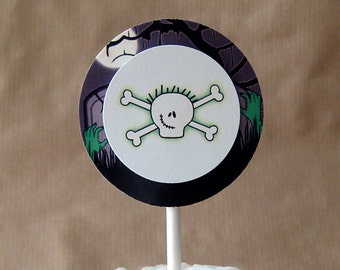 zombie skull cupcake cake toppers personalized decorations halloween costume birthday party - set of 12