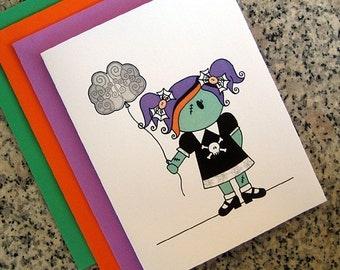 halloween zombie girl cards (blank or custom printed inside) with green, orange or purple envelopes - set of 10