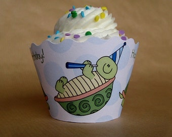 turtle boy birthday party cupcake wrappers decorations personalized customized - set of 12