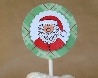 santa claus is coming to town cupcake toppers toppers decorations winter holiday festive can be personalized - set of 12