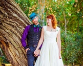 Pleated Skirt Tea Length Wedding Dress - Hey Little Lucy