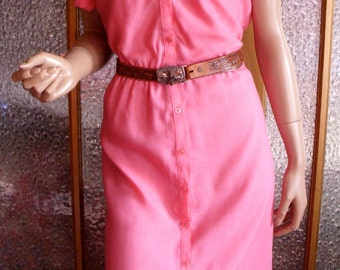 Pink 80s Button Down Dress