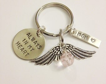Remembrance Keychain, Always In My Heart - Memorial, Sympathy Gift, Personalized, Family, In Memory