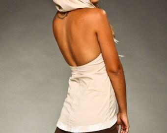 Open Back Poplin Hoodie Top - burning man - women clothing - Tops & Tees