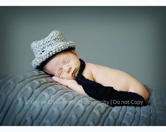 Baby Fedora Hat and Neck Tie- Newborn Photo Prop Hat 0 to 3 months