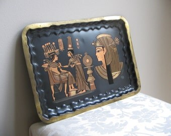 Vintage Egyptian Metal Wall Art Tray Brass Copper, Woman Man Cleopatra Pharaoh Ancient Egypt Prince King Princess Queen Hieroglyphics