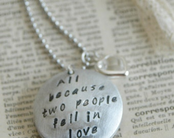 Hand Stamped Sterling Mom Locket - All Because Two People Fell In Love By Inspired Jewelry Designs