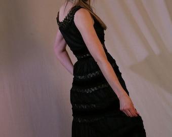 Vintage 50s Black Dress Cocktail Party Crochet Satin Velvet LBD