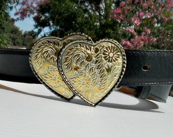 Double Heart Silver and Gold Tone belt buckle